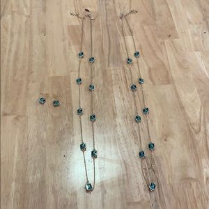 Blue, gold, green necklace and earring set